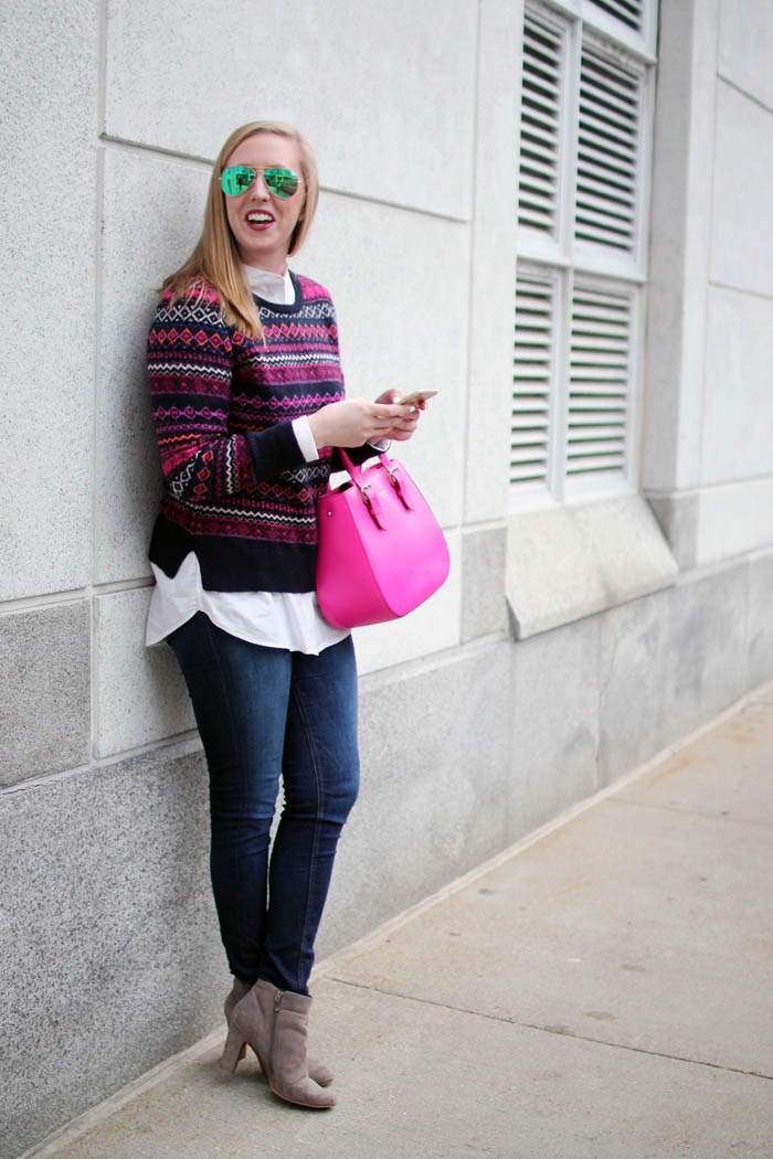 loft fairisle sweater, loft fair isle sweater, navy and pink fairisle sweater, boston fashion blogger, blogger fairisle sweater, blogger fair isle sweater