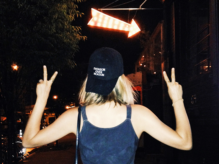 Fashion Over Reason Bow & Drap chambray baseball cap, nighttime, Brooklyn, New York, summertime