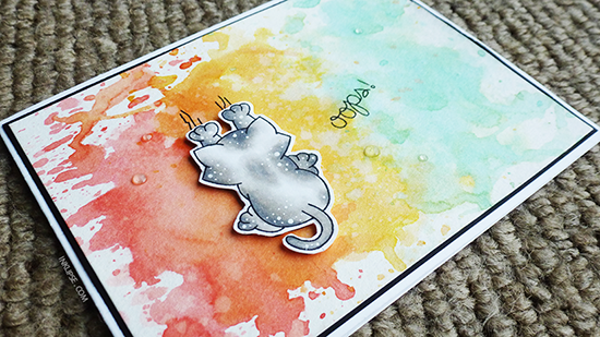 Guest Designer - Simon Hurley | oops Cat card using Naughty Newton Stamp set by Newton's Nook Designs #newtonsnook