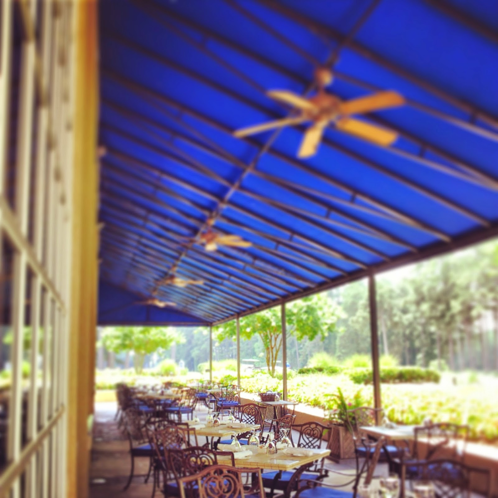 Outdoor patio at Fairview Dining Room at Washington Duke Inn. #outaboutnc