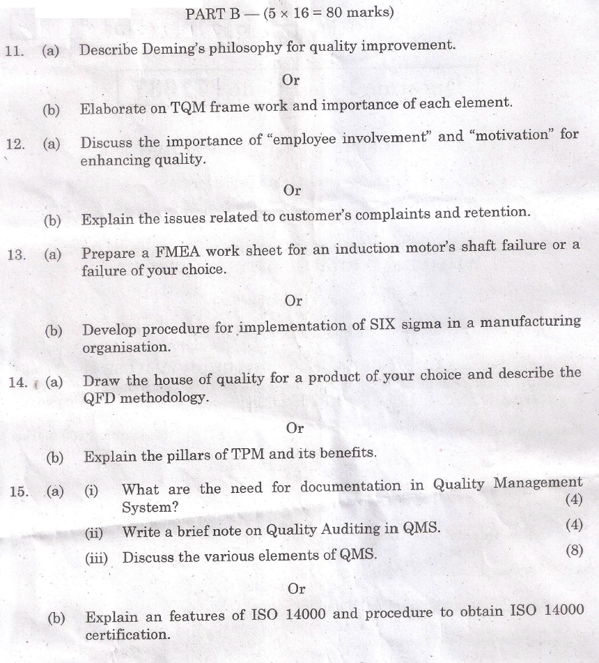 total quality management question papers anna university 2marks with answers, important part b 16marks questions & ge6757 total quality management anna university management anna university question papers.