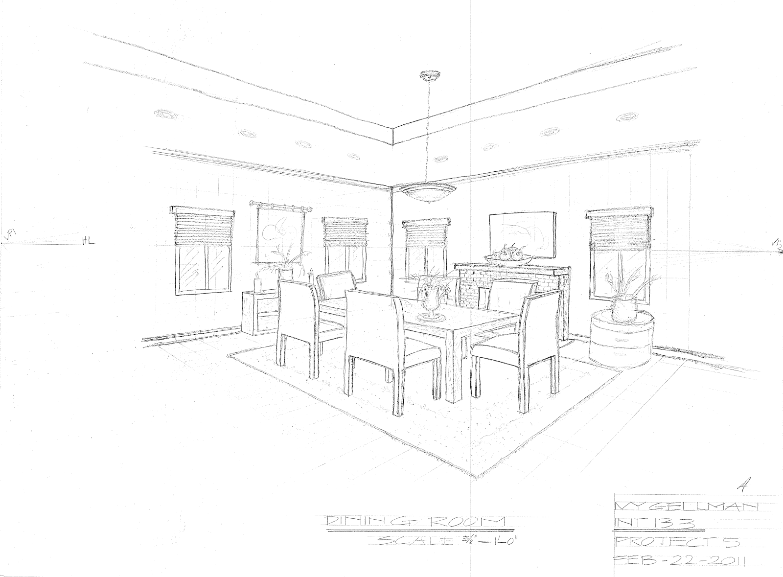 Interior design perspective drawing for Dining room drawing