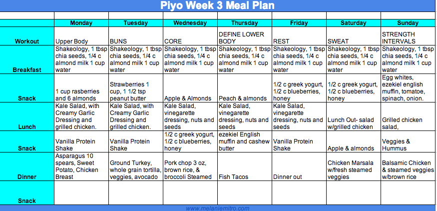 Piyo Women's Meal Plan