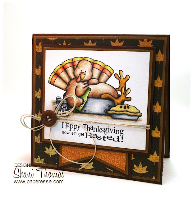 Let's get basted! Thanksgiving card with Whimsie Doodles digital stamp, colored with Caran d'Ache Luminance 6901 pencils.