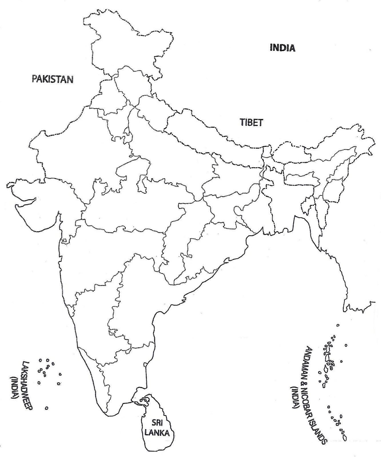 India Map Outline A4 Size