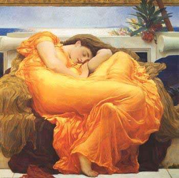 painting of a woman in a flowing orange dress curled up and sleeping