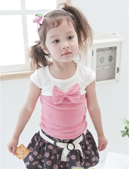 [G027]Pink Bow Tee
