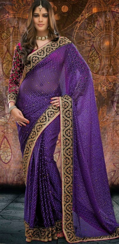 Brasso Purple Designer Embroidery Saree with Unstitched Blouse