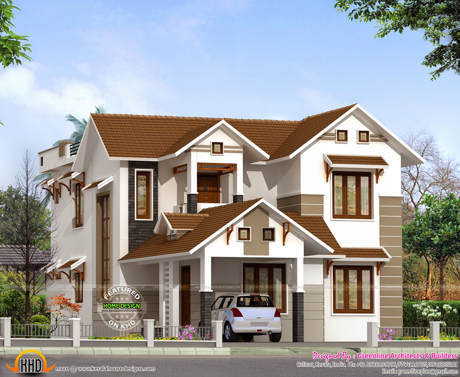 2015 sq ft sloping roof home kerala home design and for Home plans and designs