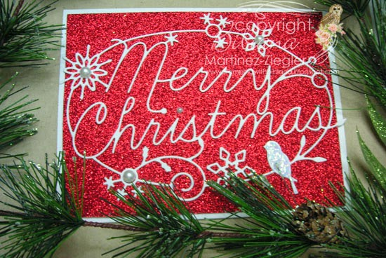 last minute christmas card with glitter paper