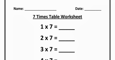 Worksheet on 7 Times Table | Printable Multiplication Table | 7 ...