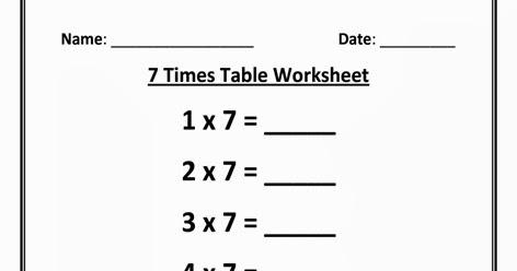 Kids Page: 7 Times Multiplication Table Worksheet