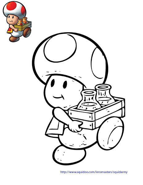 Super Mario Bros Toad Coloring Pages