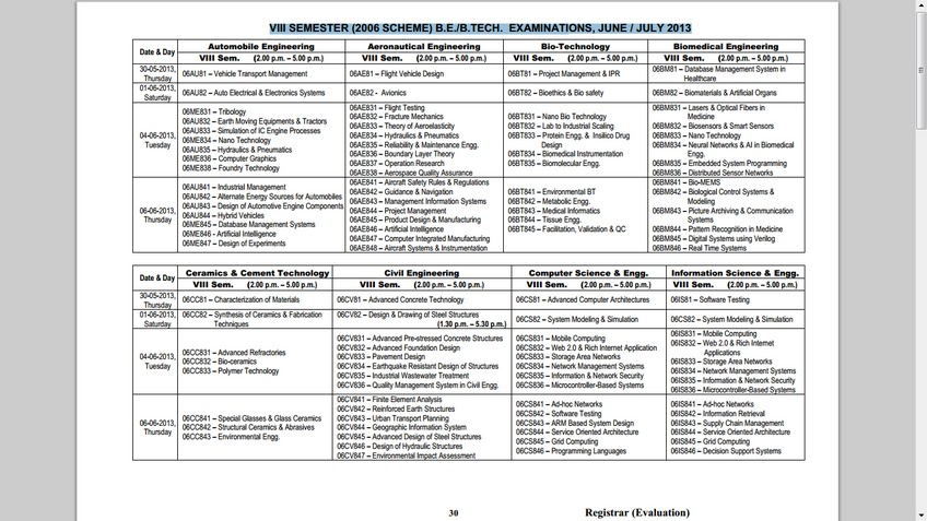 Nimma girish vtu june 13 exam time table for Vtu 8th sem time table