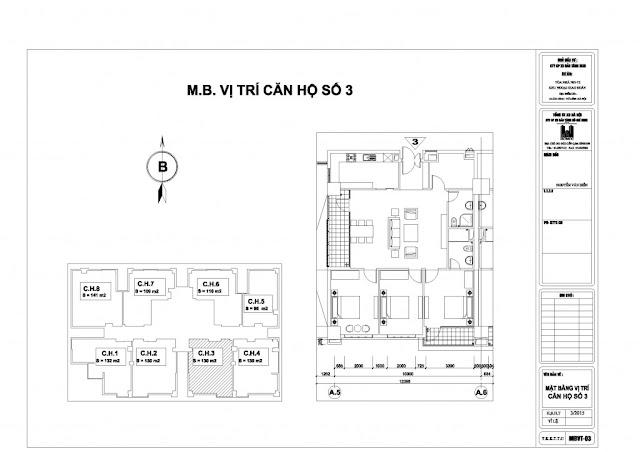 Mặt bằng căn hộ số 3 chung cư N01-T2 Ngoại Giao Đoàn, Tây Hồ, HN