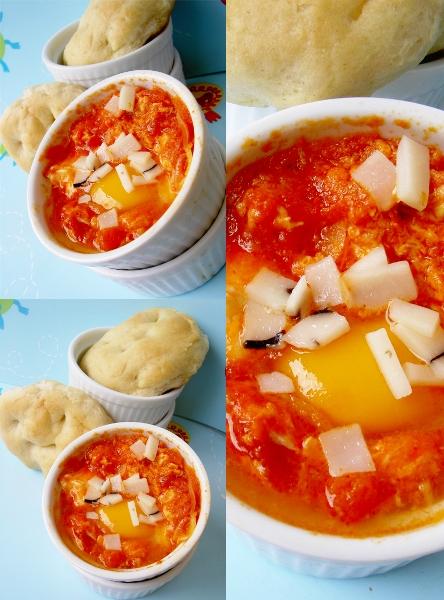 uova al pomodoro fresco e pecorino tartufato