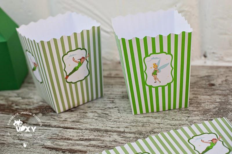 cutii candy bar Peter Pan, tema petrecere Peter Pan, botez personalizat Peter Pan, cutii popcorn Peter Pan, Peter Pan si Clopotica