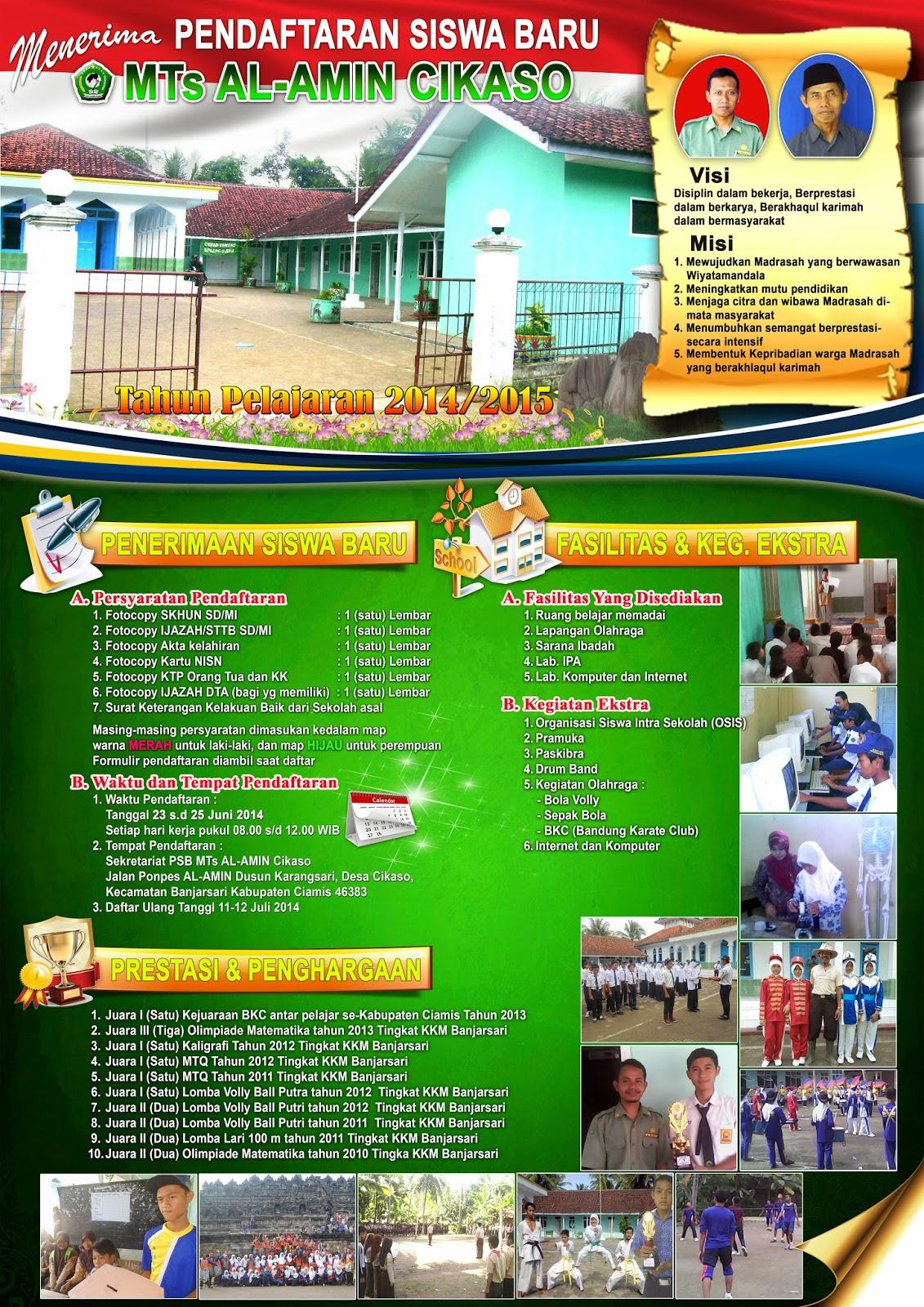 Iskandarniza Contoh Brosur Psb Mts Al Amin Cikaso Tapel 2014 2015