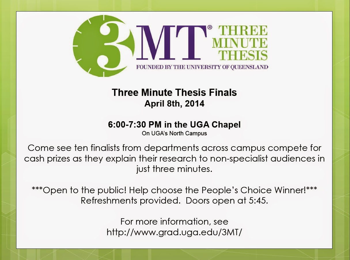 3 minute thesis When the time comes to write their thesis, many phd candidates find it difficult to compress years of reading literature, conducting experiments, and analyzing results into a clear, complete.