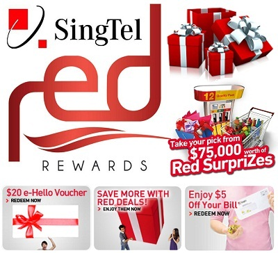 Redeem and get lots of benefits with Singtel Red Rewards on www.singtel.com/red and many more like Singtel Red SurpriZes, Singtel Red reward Gift Points & Birthday Treats.