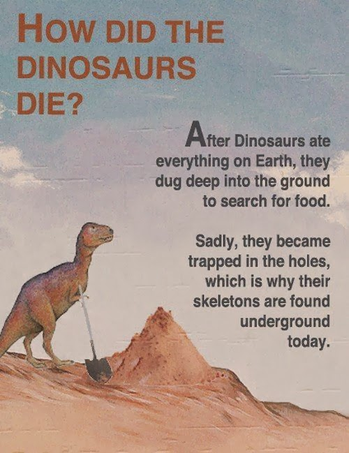 Funny Creationist Dinosaur Extinction Poster - How did dinosaurs die?