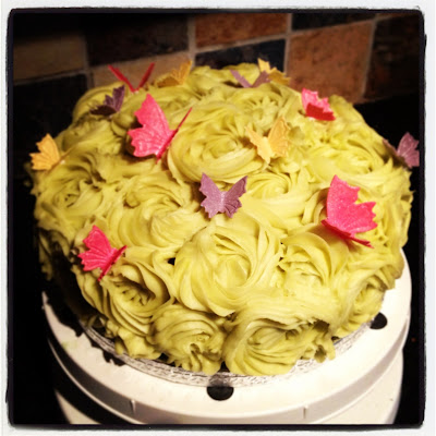 Buttercream Roses, Butterflies, Glitter, Almond Cake