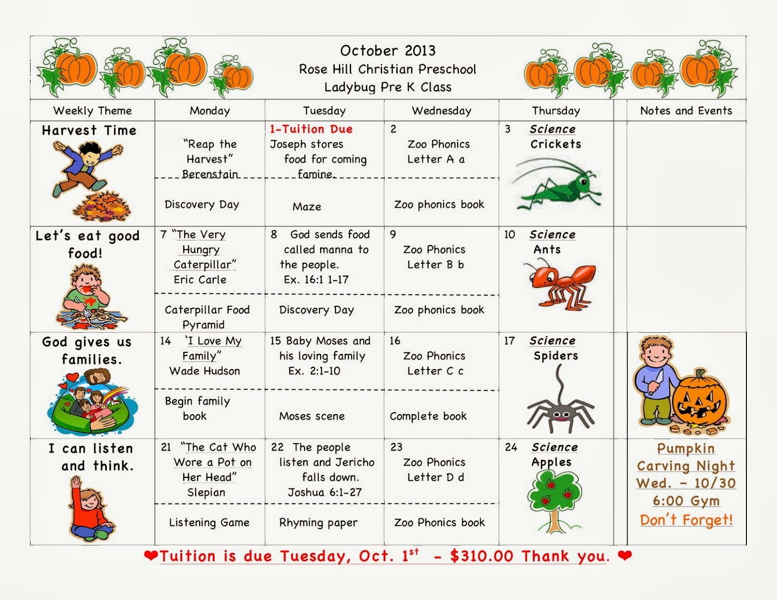 October Calendar Kindergarten : Rose hill christian preschool news