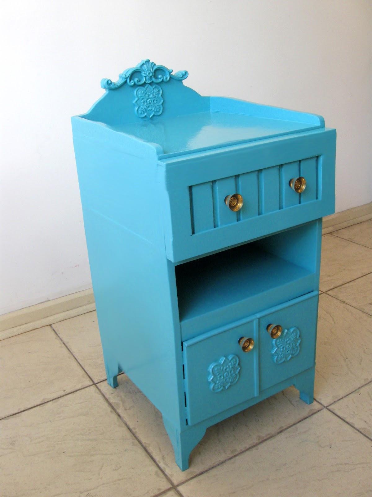 Artesanato Arame ~ Hansted Restauraç u00e3o e Acabamento Atibaia SP Criado Mudo Azul Turquesa