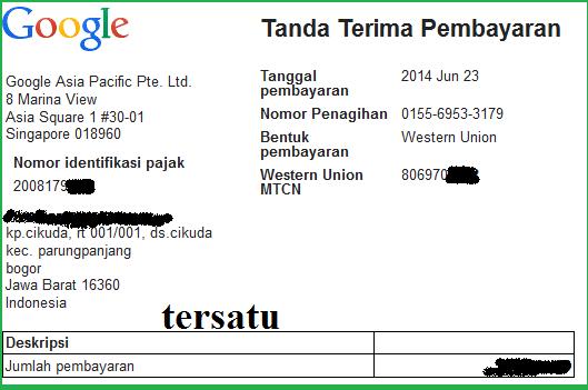 bukti pembayaran google adsense bulan juni 2014