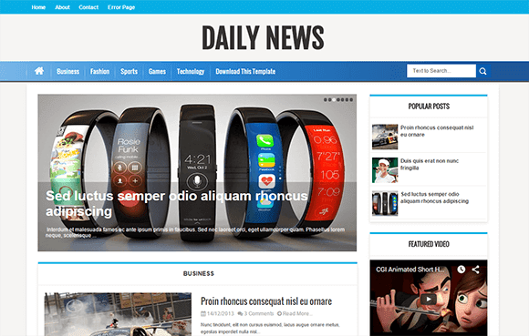 Daily News Blogger Template High Quality Free Blogger Templates