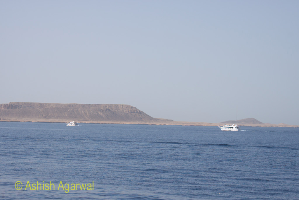 Ships heading to the coral reefs at the Ras Mohamed water park near Sharm el Sheikh