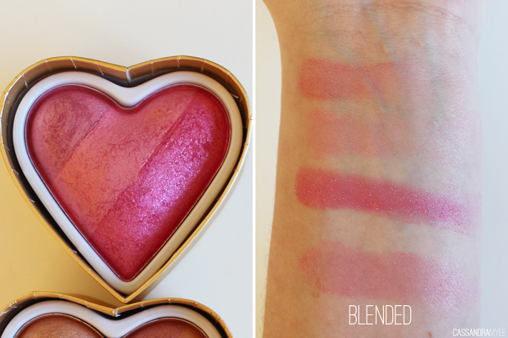 MAKEUP REVOLUTION // I Heart Makeup | Blushing Hearts Triple Baked Blushes - CassandraMyee