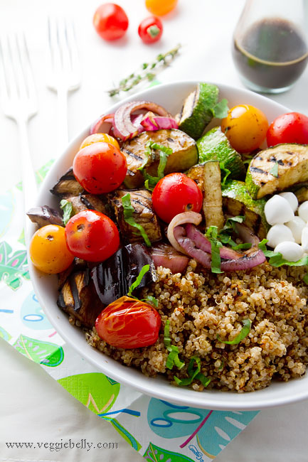 Balsamic Grilled Summer Vegetables with Basil Quinoa Salad - Cook'n is ...