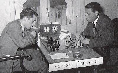Partida Recasens-Moreno del Torneo Internacional de Ajedrez Tarragona 1952