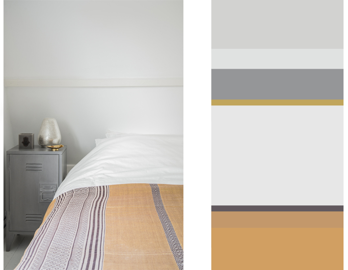 Arabic influences in my bedroom with ocher and grey