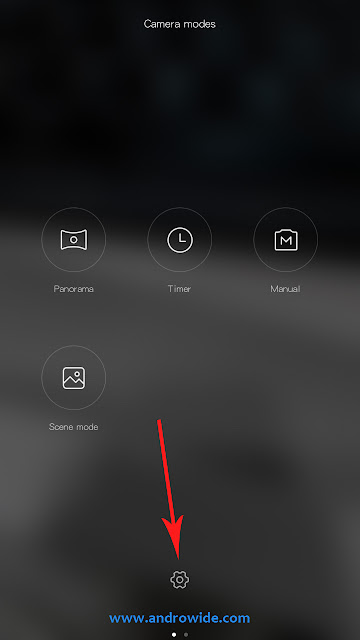 open settings icon on the camera app