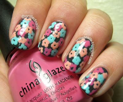 grillednails grilled nails hector alfaro flowers nailartfeb february 2013 dotting tool grey pink blue