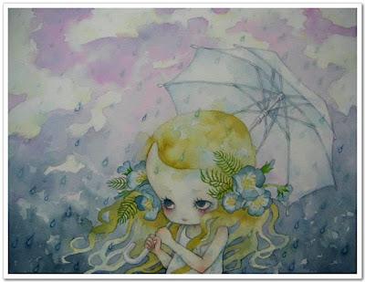 Muñeca bajo la lluvia muñecas japonesas