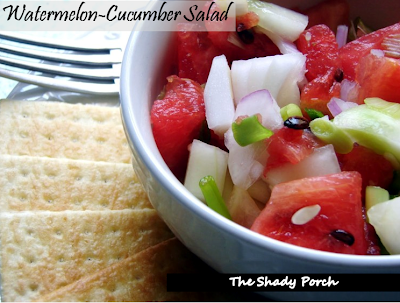 Watermelon Cucumber Salad by The Shady Porch
