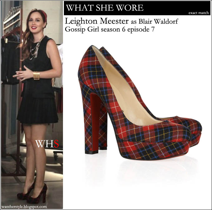 e2db4ad40d4 WHAT SHE WORE  Blair Waldorf in red tartan plaid Christian Louboutin  platform pumps on Gossip Girl season 6 episode 7 ~ I want her style - What  celebrities ...