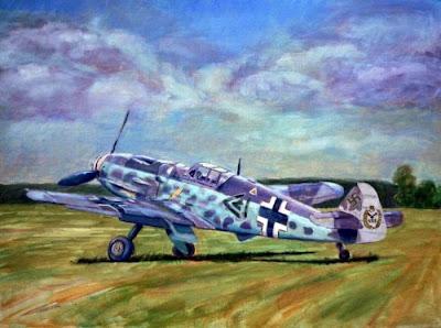 Pintura al öleo de un bf-109 de la luftwaffe 2