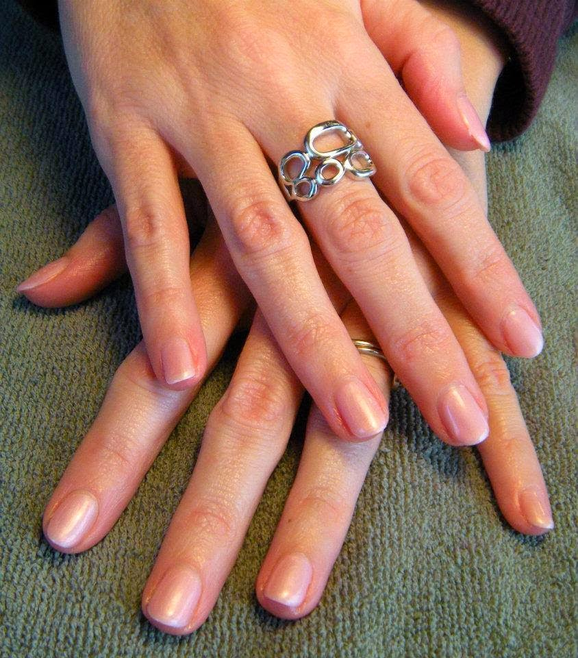 Nail care, acrylics and gel applications; pearl white French Gel-color Mini Manicure with an overlay of a frosty pink