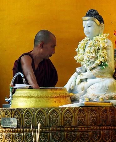 shwedagon pagoda stupa in yangon amp buddhist novitiation
