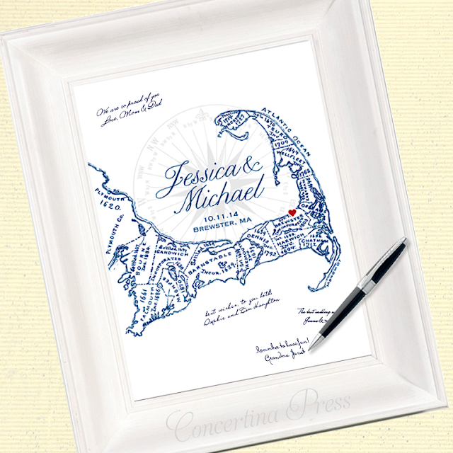 Map of Cape Cod that wedding guests can sign as an alternative to a guestbook made by Concertina Press