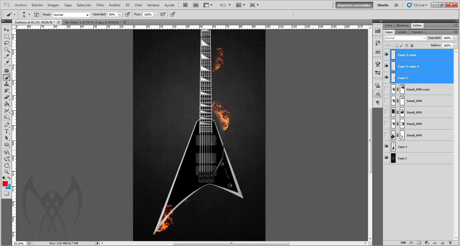 Prende fuego a una guitarra (tutorial photoshop)