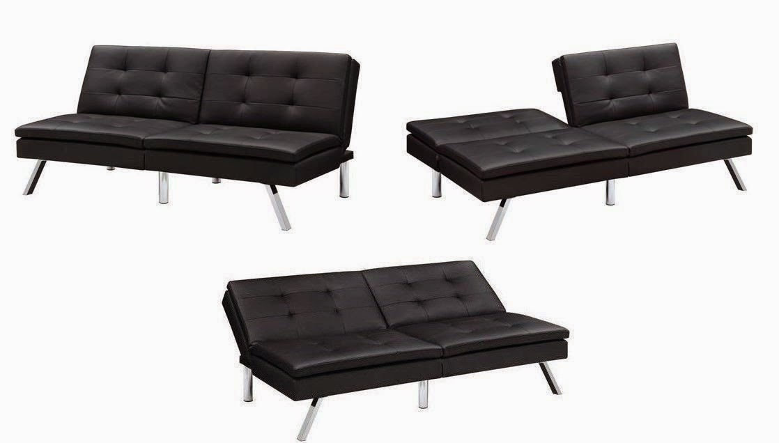 Black Modern Sectional Sofa Futon Convetible Sleeper Bed Couch Chaise Ottoman