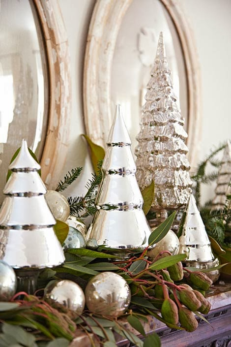 fresh swags mix it up with antique and vintage mercury glass balls and new mercury glass christmas trees on the mantel - Mercury Glass Christmas Trees