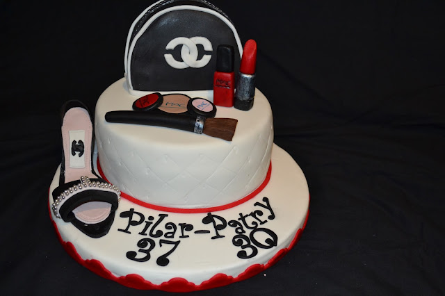 tarta Maquillaje y zapato fondant chanel