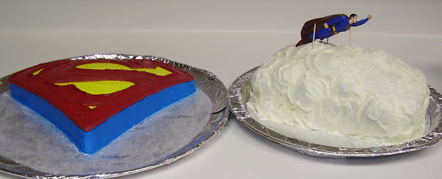 Superman Logo Cake and Superman Cloud Cake Together