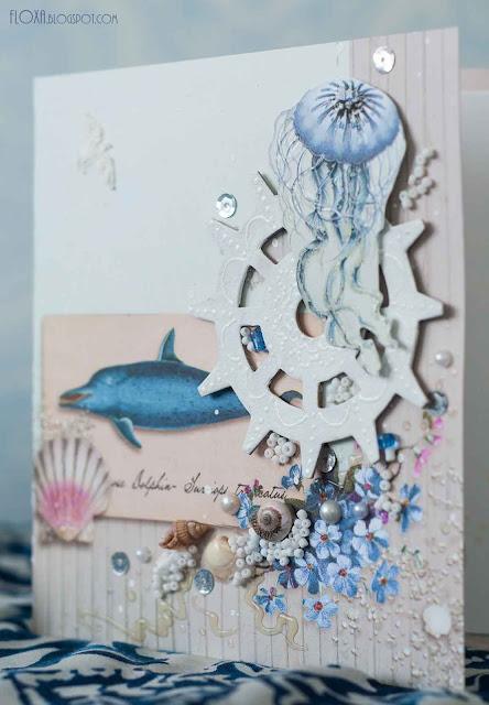 бумага тильда, море, открытка, подарок своими руками, ручная работа